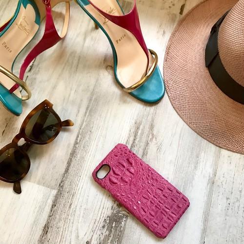牛革型押しクロコ PINK   i phone case 6 /6s /7 /6plus /7plus