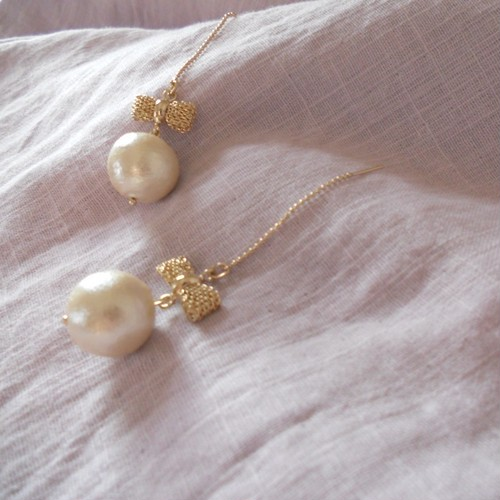 Ribbon&pearl*ピアス