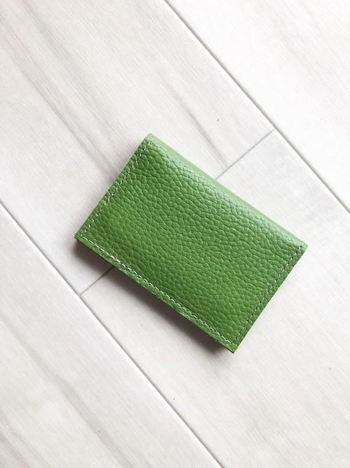 和風テイスト カードケース 本革 レザー 名刺入れ パスケース 抹茶 グリーン
