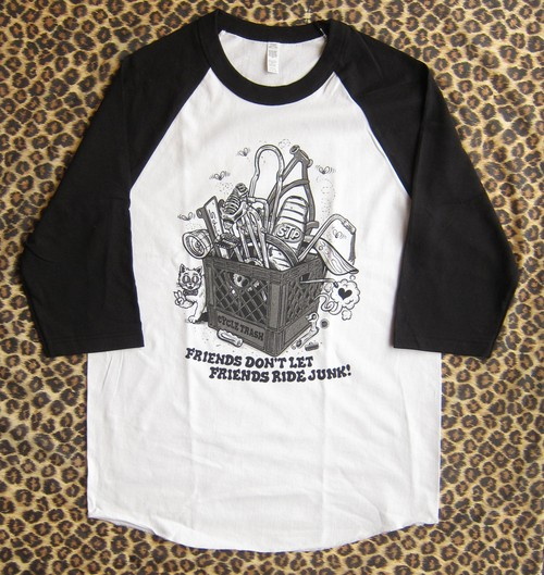 Cycle Trash 21th anniversary baseball Tee - White/Black crate-mono by Burrito Breath