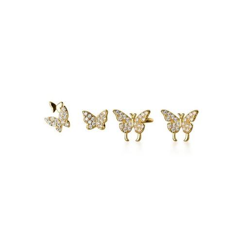 親子バタフライ(S)| 蝶々ピアス | きらきら | シルバー925 | レディース | 金属アレルギー