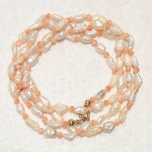 淡水真珠とコーラル(ピンク珊瑚)のビーズネックレス コスチュームジュエリーのセール通販 5565N