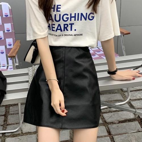 フェイクレザーAラインミニスカート U6226