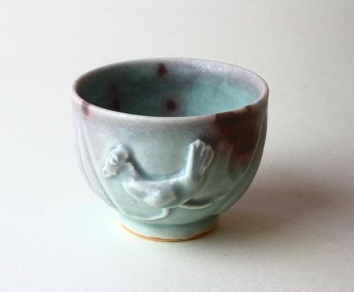 海の色と鳥の湯飲み NO.2 /青磁 /釉裏紅 /陶芸 /茶器 /湯呑 /celadon /glaze / blue