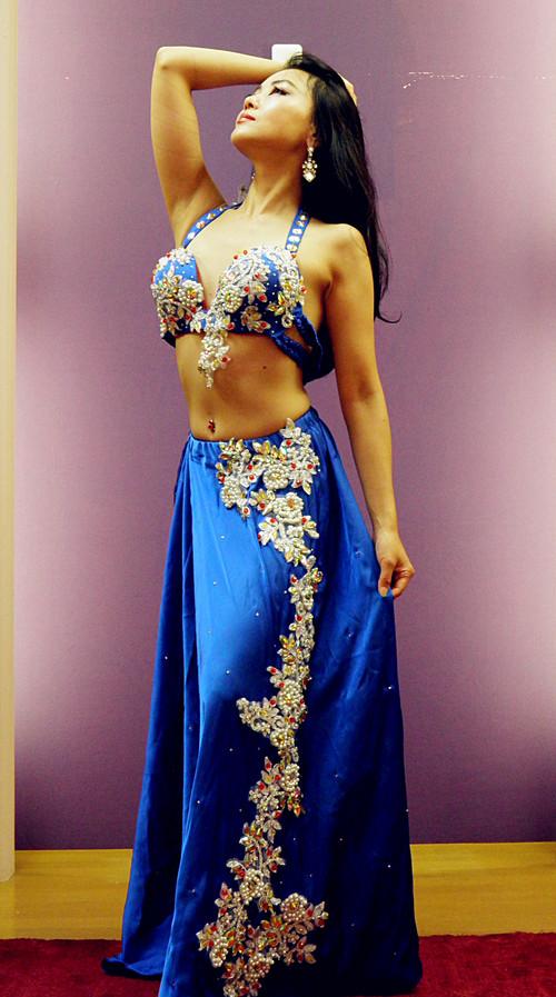 ベリーダンス衣装 ブルー フレアスカート アウトレット