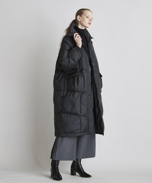【予約】ポケットギャザーBIGダウンコート(ブラック)