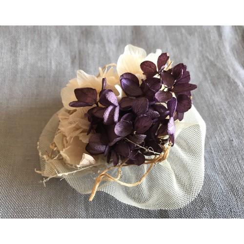 hydrangea × tulle スモーキーカラー コサージュ ヘッドドレス【ディープパープル&ナチュラルホワイト】紫陽花とチュール アンティーク風