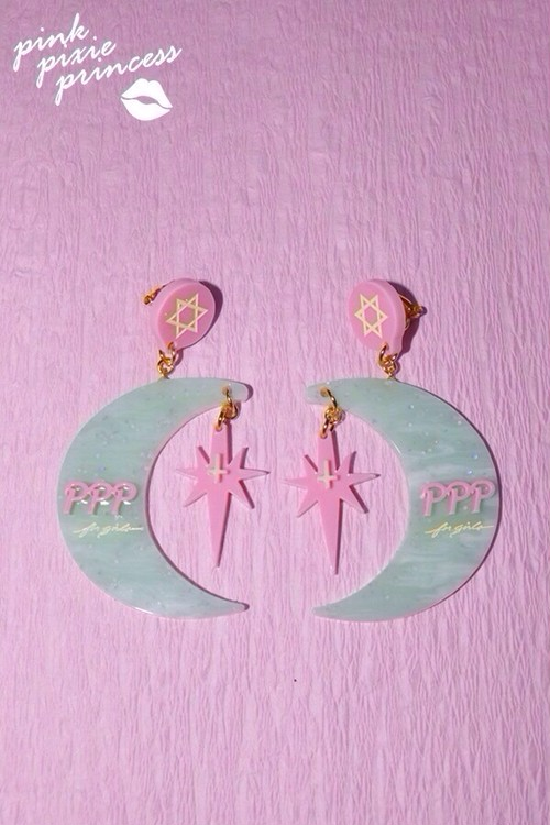 ●PPP● Crescent moon earrings / mint green × milky pink
