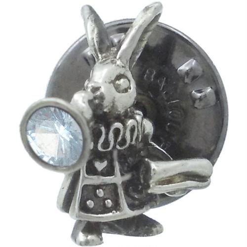 (3月)アクアマリン 布告役姿の白ウサギ シルバー ピンバッジ ピンズ*BK-1107