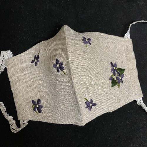 すみれ刺繍マスク(ナチュラル)