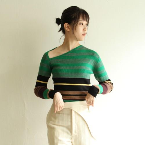 JUN MIKAMI【 womens 】triangle neck multi border pullover