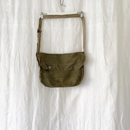 """FRANCE 30s〜40s vintage""""FRENCH ARMY""""linen musette(bread bag)"""