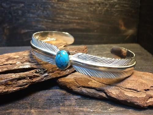 Double feather Bangle(M)×Turquoise - ダブルフェザーバングル(M)×ターコイズ