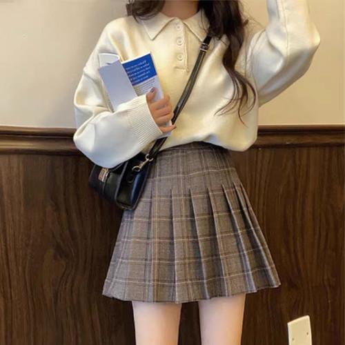 【即納】シンプルチェック スカート 2色