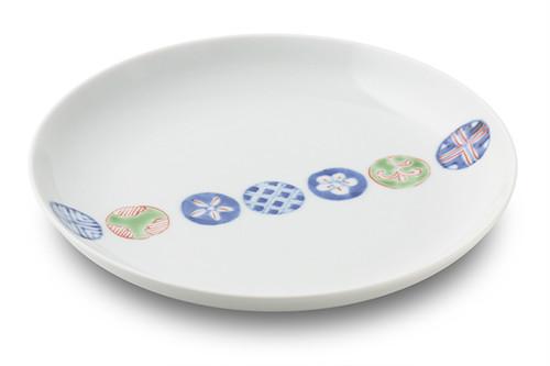 染錦丸紋つなぎ7寸丸皿