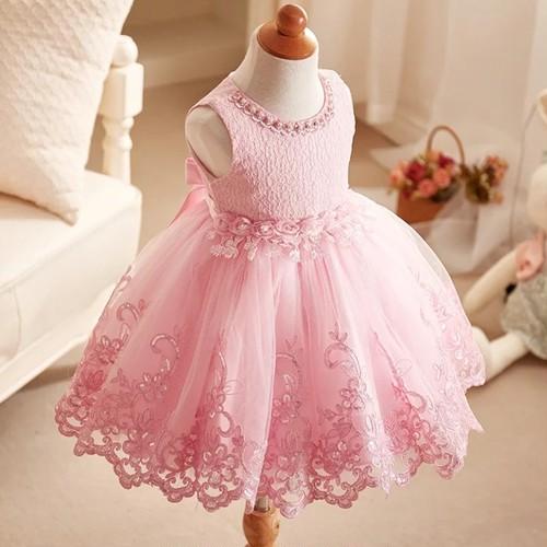 【送料無料】ピンク色  ♡ビジュー付き ♡上品♡華やかドレス ピンク色