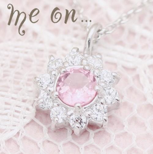 ピンクトルマリンダイヤモンド 花ネックレス