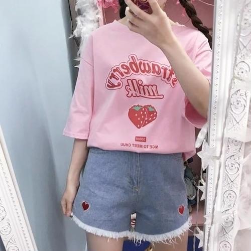 韓国ファッション いちごみるく ゆめかわいい ゆめかわトップス