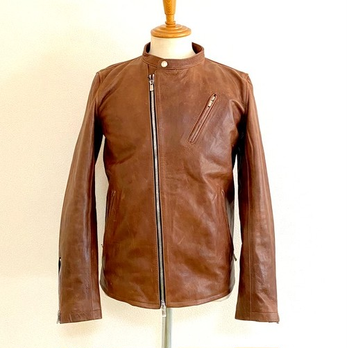 Leather Stand Collar Semi-W Riders Jacket Brown