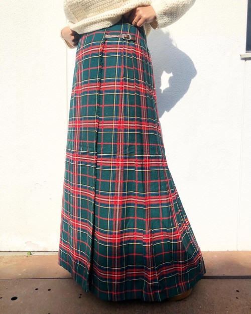 1980s Tartan Check Long Skirt