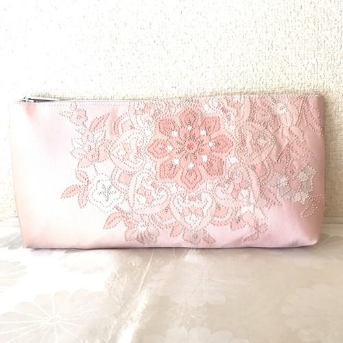 【さがら刺繍の花園】西陣帯のクラッチバッグ