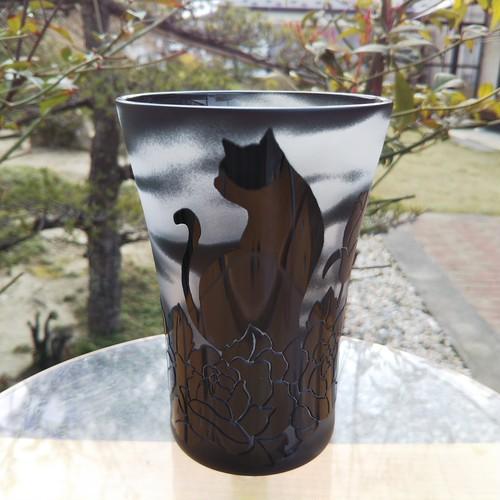 TGタンブラー(黒)黒猫と薔薇