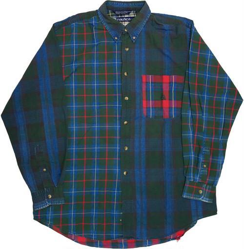 【L】 90s nautica ボタンダウンシャツ クレイジーパターン ノーティカ ヴィンテージ 古着