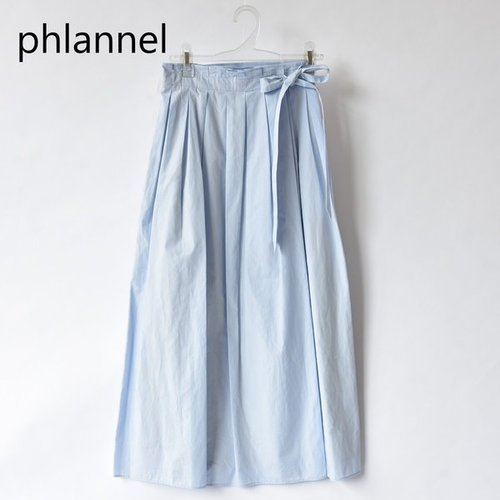 Phlannel/フランネル・Cotton Typewriter Tuck Wraparound Skirt