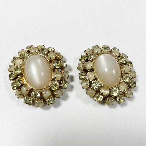 Vintage Moon Glow Lucite & Bijoux Big Size Earrings