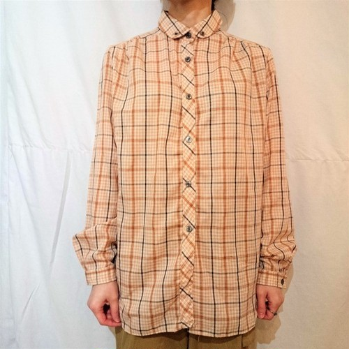 Check pattern round collar blouse[D-4]