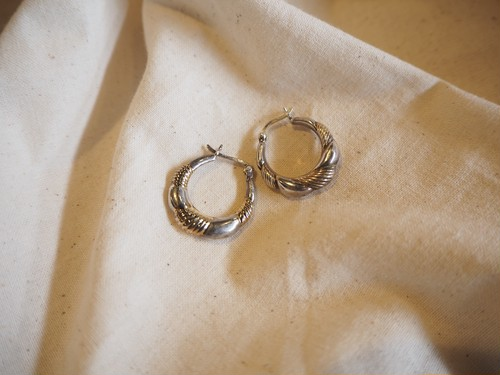 <vintage silver925>mixcolor hoop pierce