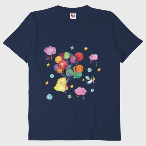 空飛ぶなみにょろTシャツ/ネイビー/送料無料