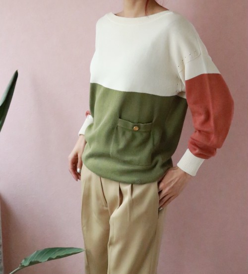 CHANEL boatneck cotton sweater
