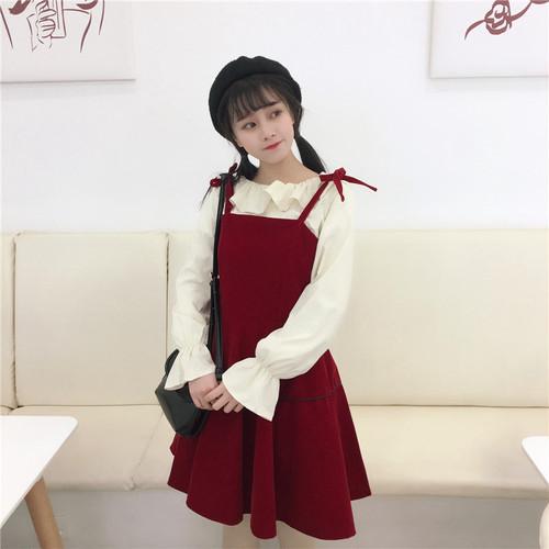 【セットアップ】2点セットロリィタ少女スウィートシャツ+キャミワンピース