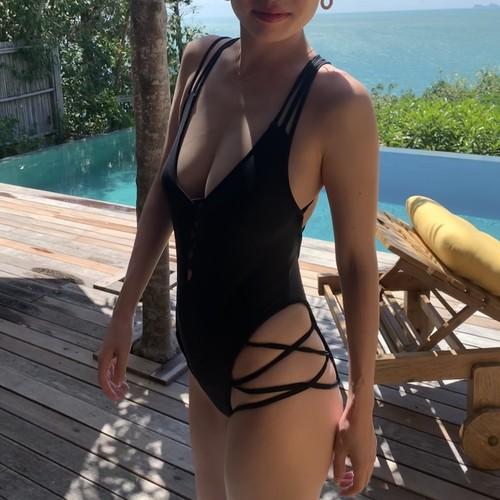 Bikini♡ブラックレースアップモノキニ