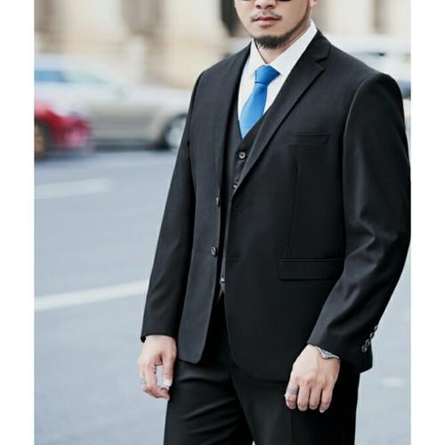 送料無料大きいサイズスリーピースセットアップビジネススーツ黒ネイビーM~9XL