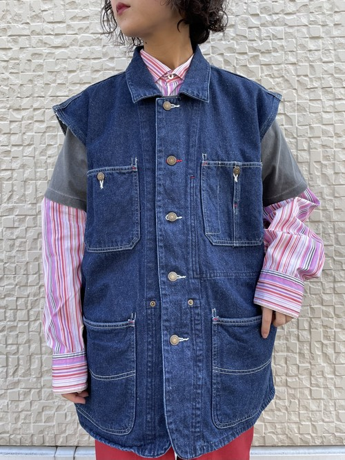 (TOYO) big size denim vest