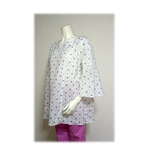 53 浴衣リメイクベルスリーブプルオーバーシャツ(白紺・絣)