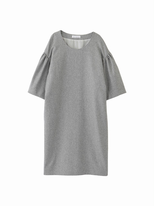 Gathered sleeve dress / light gray / W15DR05