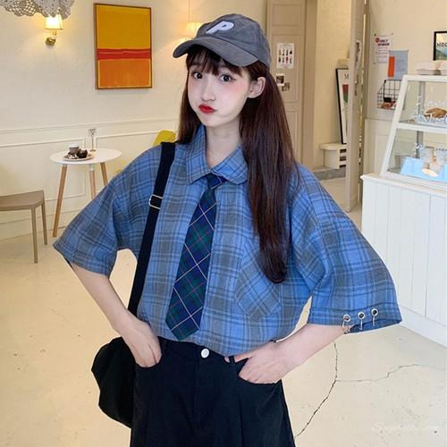 【トップス】ファッションアバンギャルドキャンパスチェック柄合わせやすいシャツ