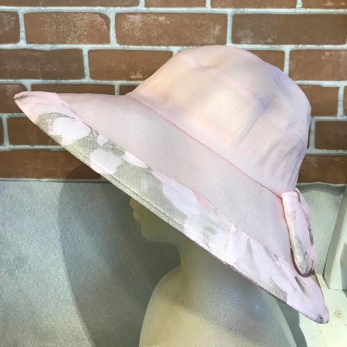 Item445 シースルー素材つば広ワイヤー入りハット ピンク