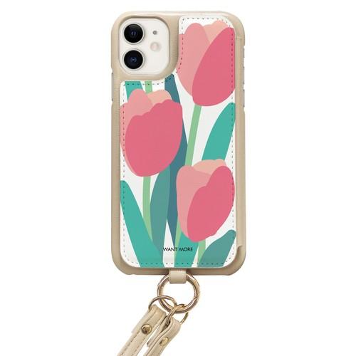 iPhoneケース ショルダー ベージュ(pop flower06)