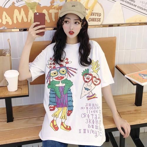 【トップス】夏韓国風コットンルーズプリント短袖Tシャツ