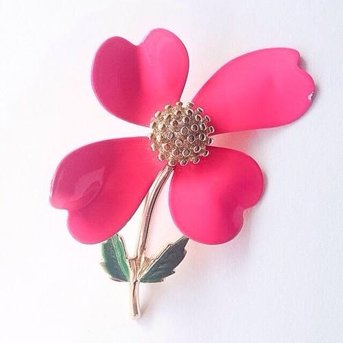 """SARAH COV"" pink flower brooch[b-161]"