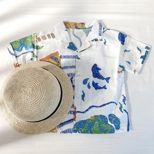 南の島のプリントのボーイズシャツ 100~130㎝