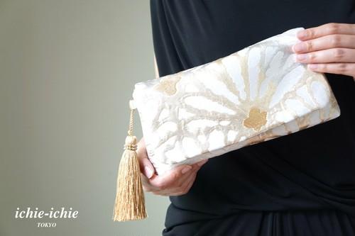 【西陣織 帯 2wayクラッチバッグ& ハンドバック】結婚式、パーティー、日常使いに。帯リメイク ゴールド