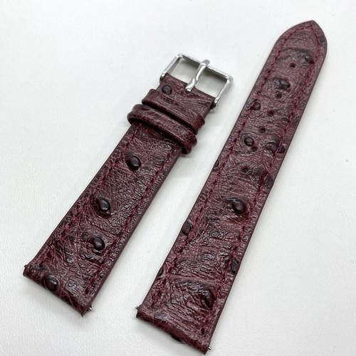 クラシック オーストリッチ型押し カーフストラップ バーガンディ 20mm クイックリリース付き 腕時計ベルト