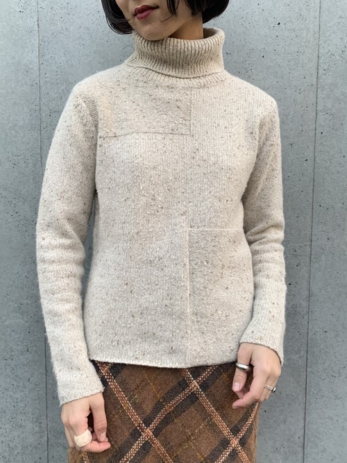 (TOYO) turtle neck design knit