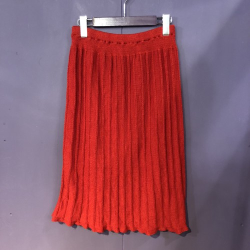 red rib knit skirt[B1327]