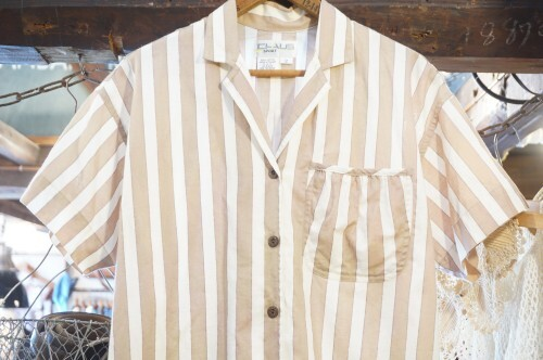 70-80's gold lined stripe open collar Shirt